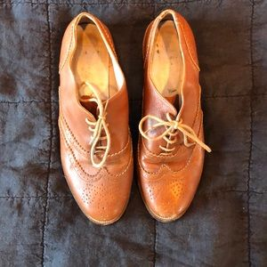 Brown leather oxfords